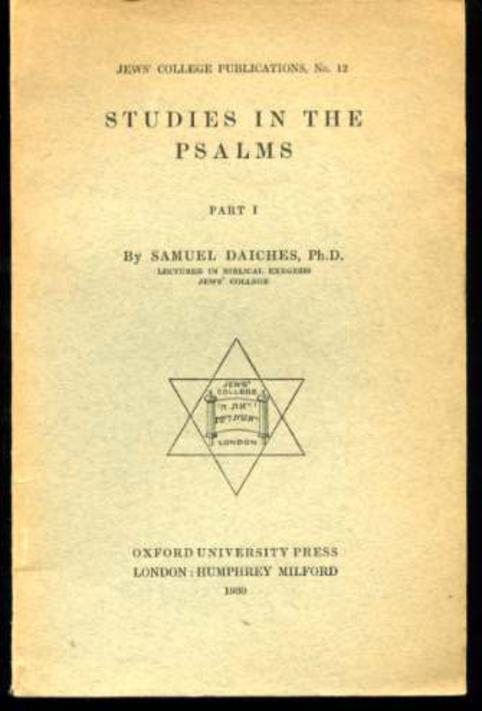 Image for Studies in the Psalms, Jews' College Publications No.12 (SIGNED COPY)