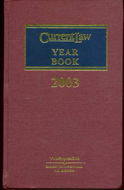 Image for Current Law Year Book : 2003 Volume I
