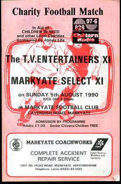 Image for Charity Football Match Programme The T.V. Entertainers XI  v Markyate Select XI