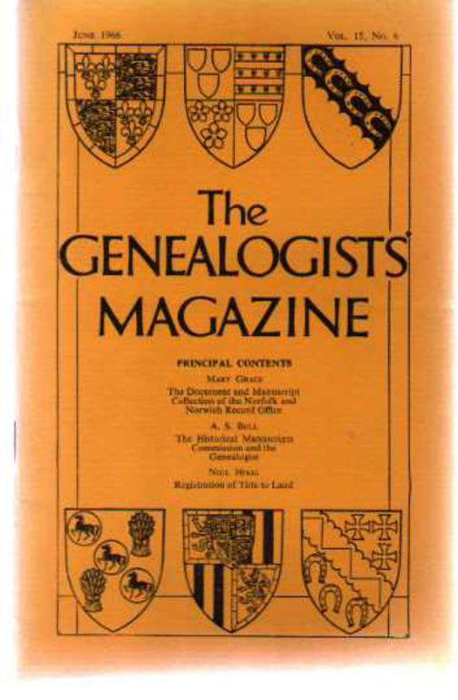 Image for The Genealogists' Magazine - Vol 15 June 1966 No 6