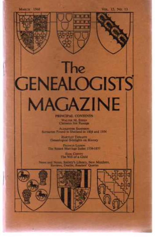 Image for The Genealogists' Magazine - Vol  15 No 13 March 1968