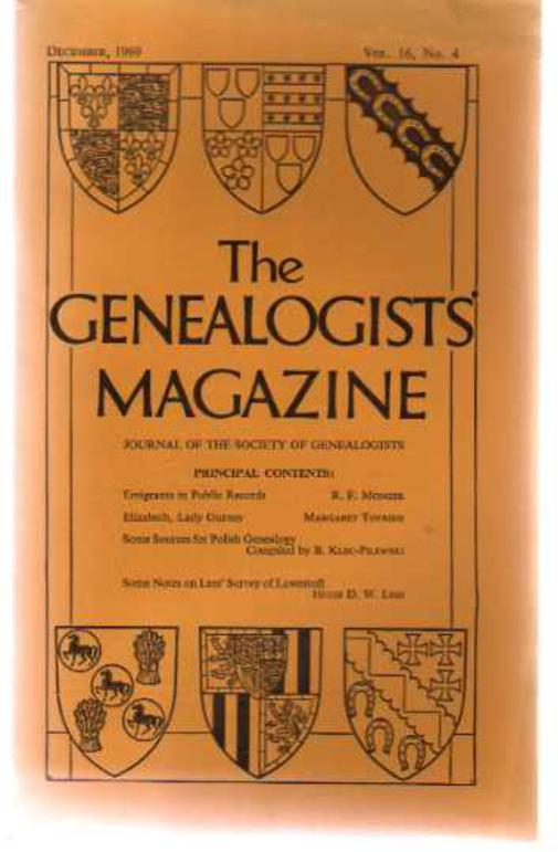 Image for The Genealogists' Magazine - Vol 16, No 4 December 1969