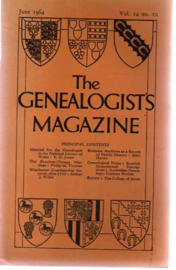 Image for The Genealogists' Magazine - Vol 14 No 10 June 1964