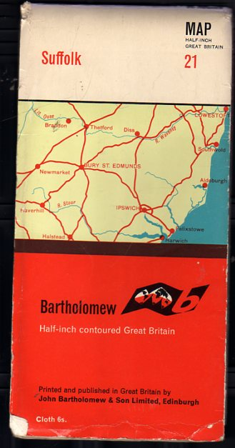 Image for Bartholomew Half Inch Contoured Great Britain Sheet 21 Suffolk