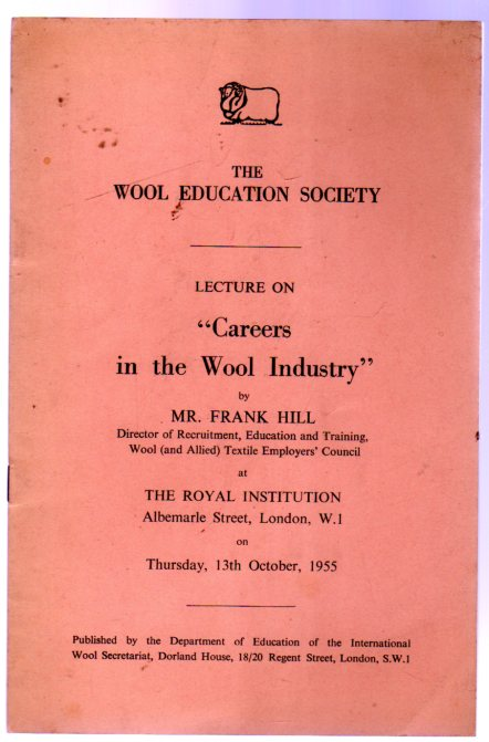Image for The Wool Education Society Lecture on ''Careers in the Wool Industry""