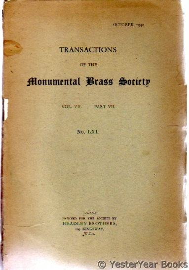 Image for Transactions of the Monumental Brass Society  Vol VII Part Vii No LXL October 1940