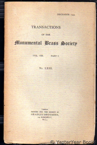 Image for Transactions of the Monumental Brass Society  Vol VIII Part I No LXIII December 1943