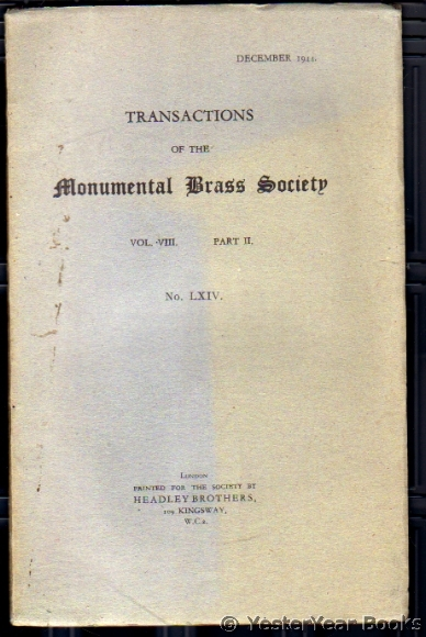 Image for Transactions of the Monumental Brass Society  Vol VIII Part II No LXIV December 1944