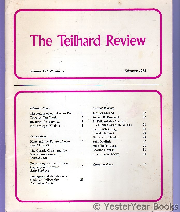 Image for The Teilhard Review : Vol VII Number 1, February 1972