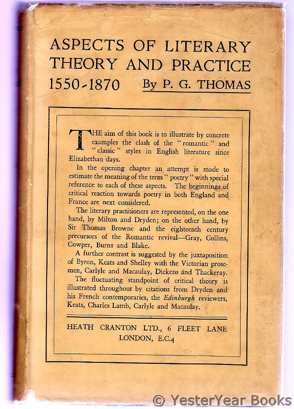 Image for Aspects of Literary Theory and Practice : 1550-1870