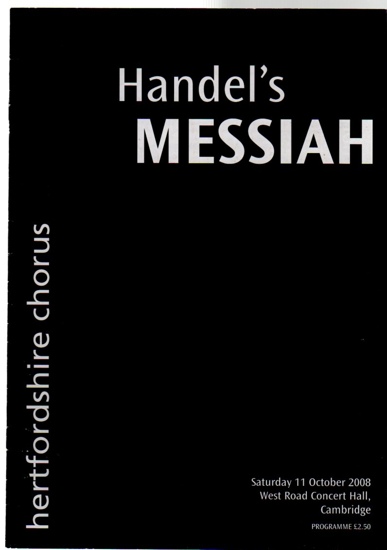 Image for Handel's Messiah Performed By the Hertfordshire Chorus  ( CONCERT PROGRAMME)