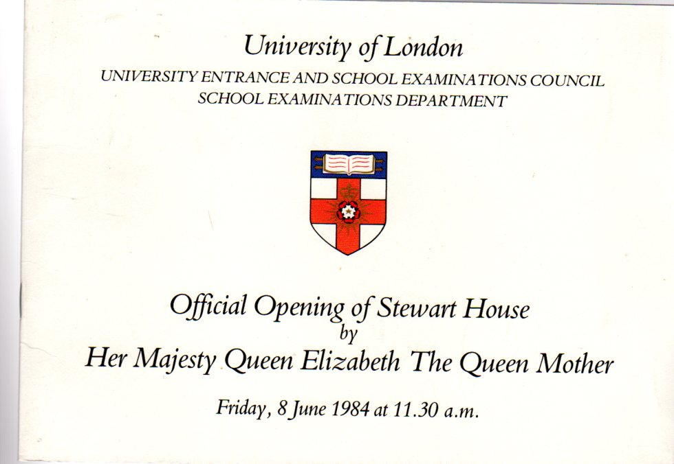 Image for Programme for the Official Opening of Stewart House, University of London, 8th June 1984
