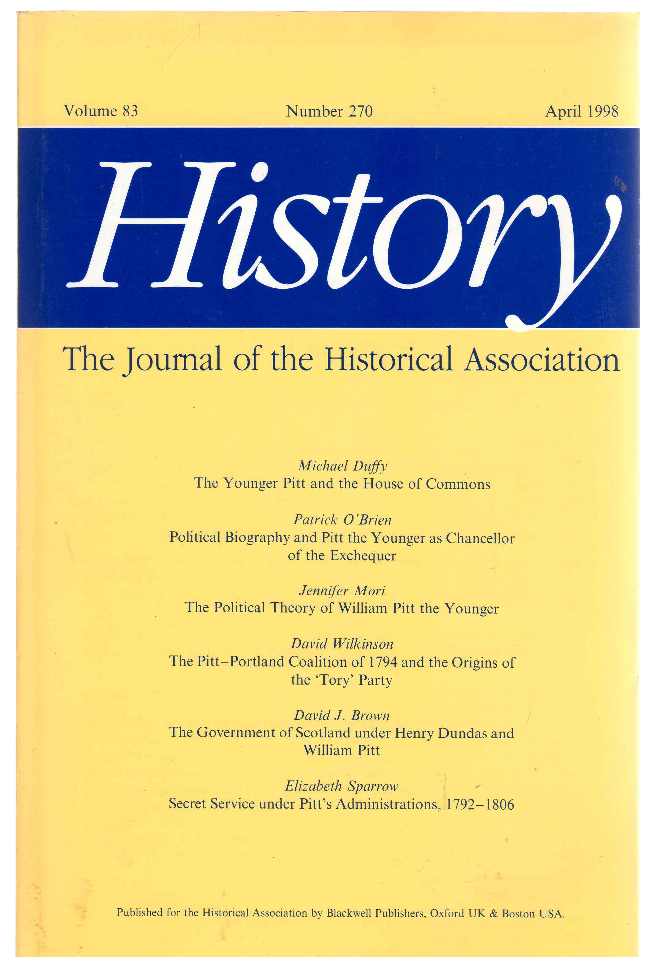 Image for History : The Journal of the Historical Association - Volume 83 Number 270 April 1998