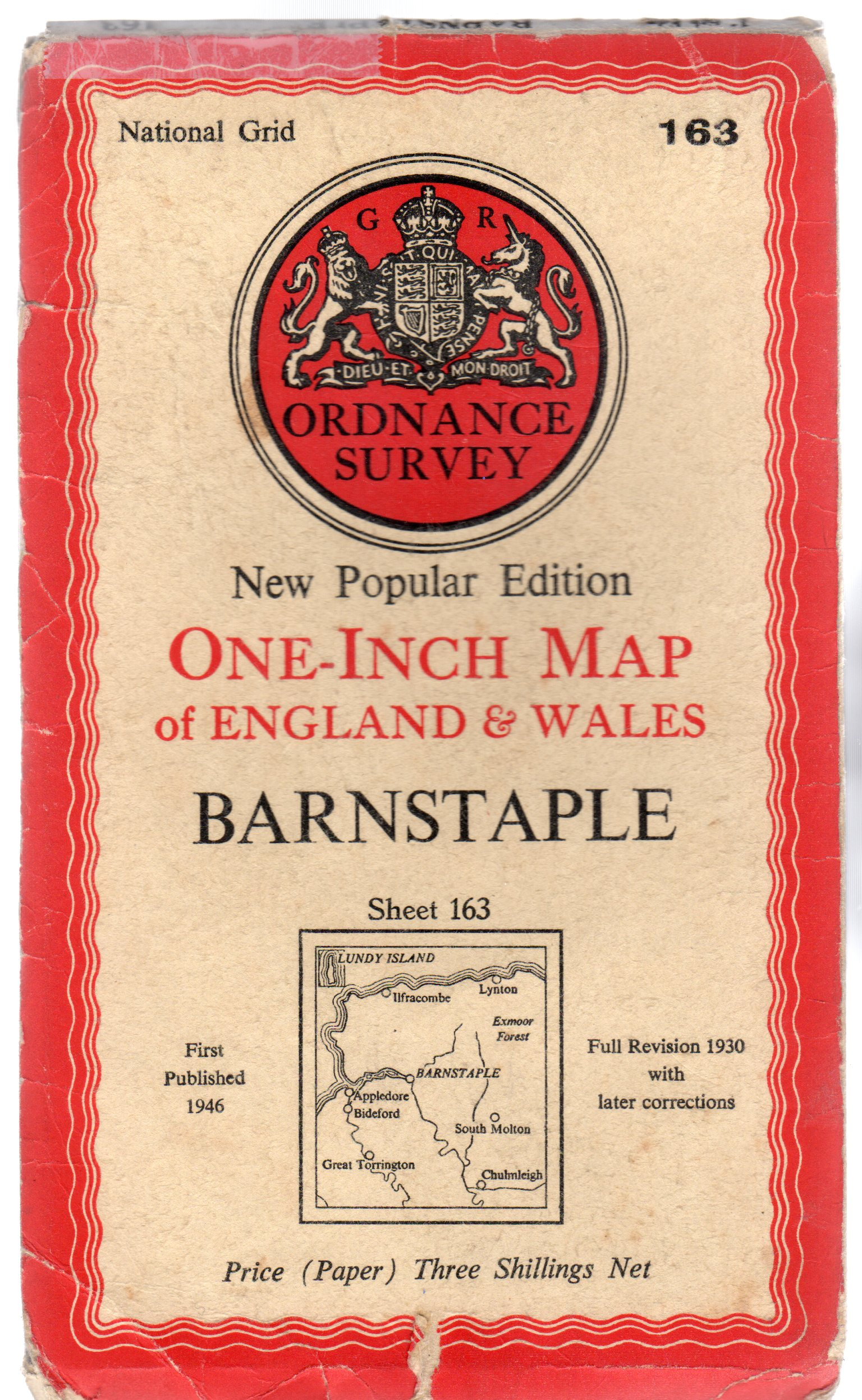 Image for Ordnance Survey New Popular Edition  One-Inch Map of England & Wales - Sheet  163 Barnstaple
