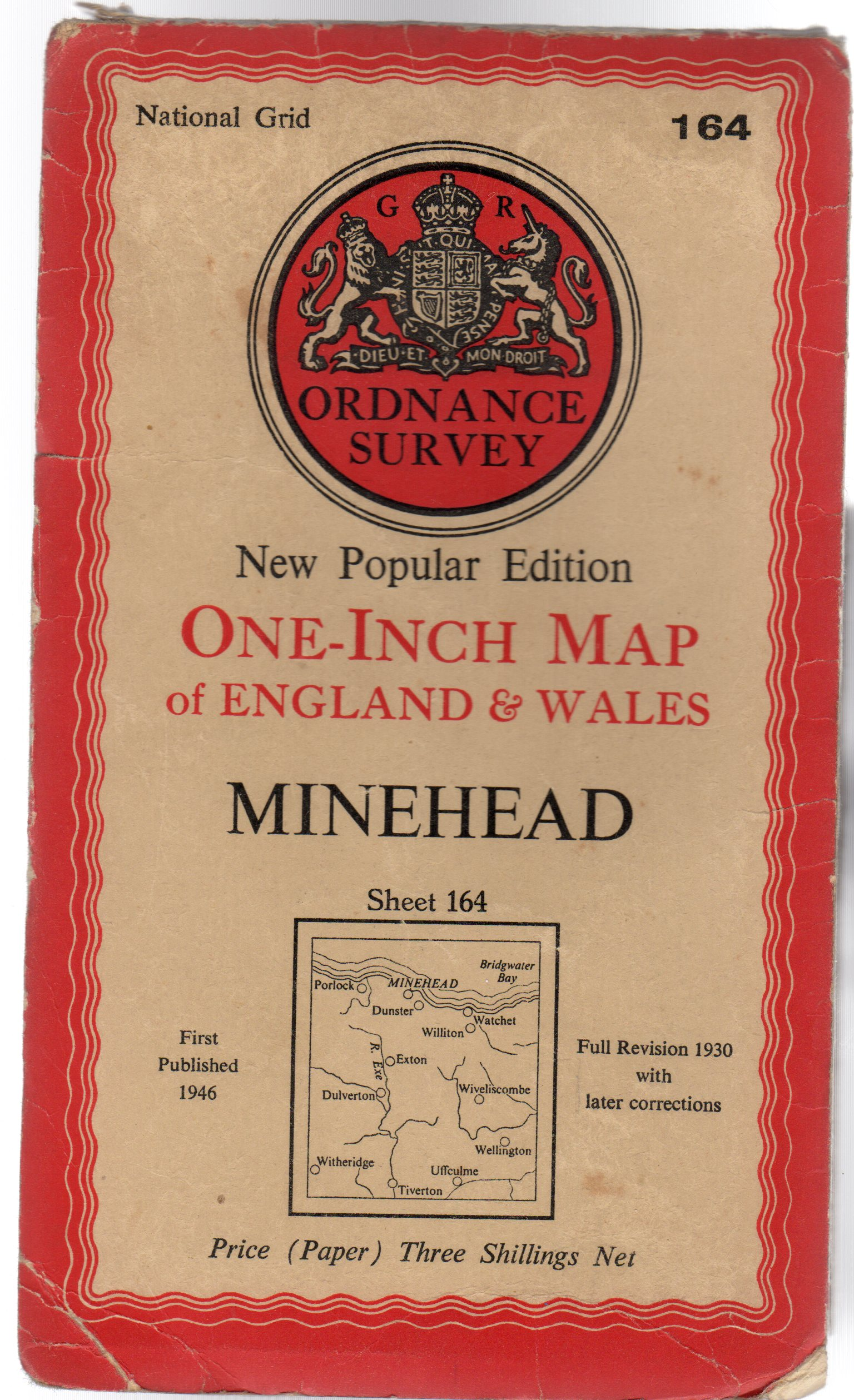 Image for Ordnance Survey  New Popular Edition One-Inch Map of England & Wales - Sheet  164 - Minehead