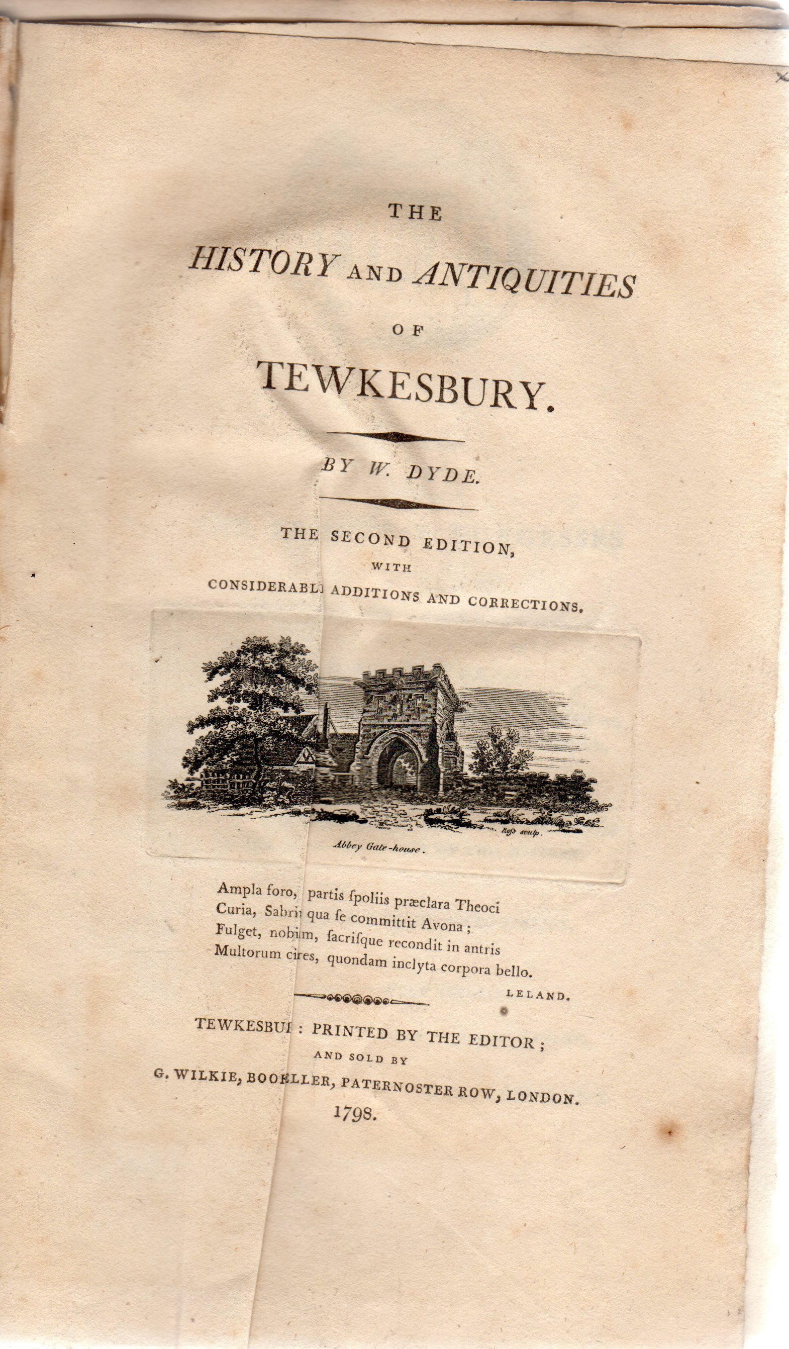 Image for The history and antiquities of Tewkesbury. The second edition (REBINDING COPY ONLY)