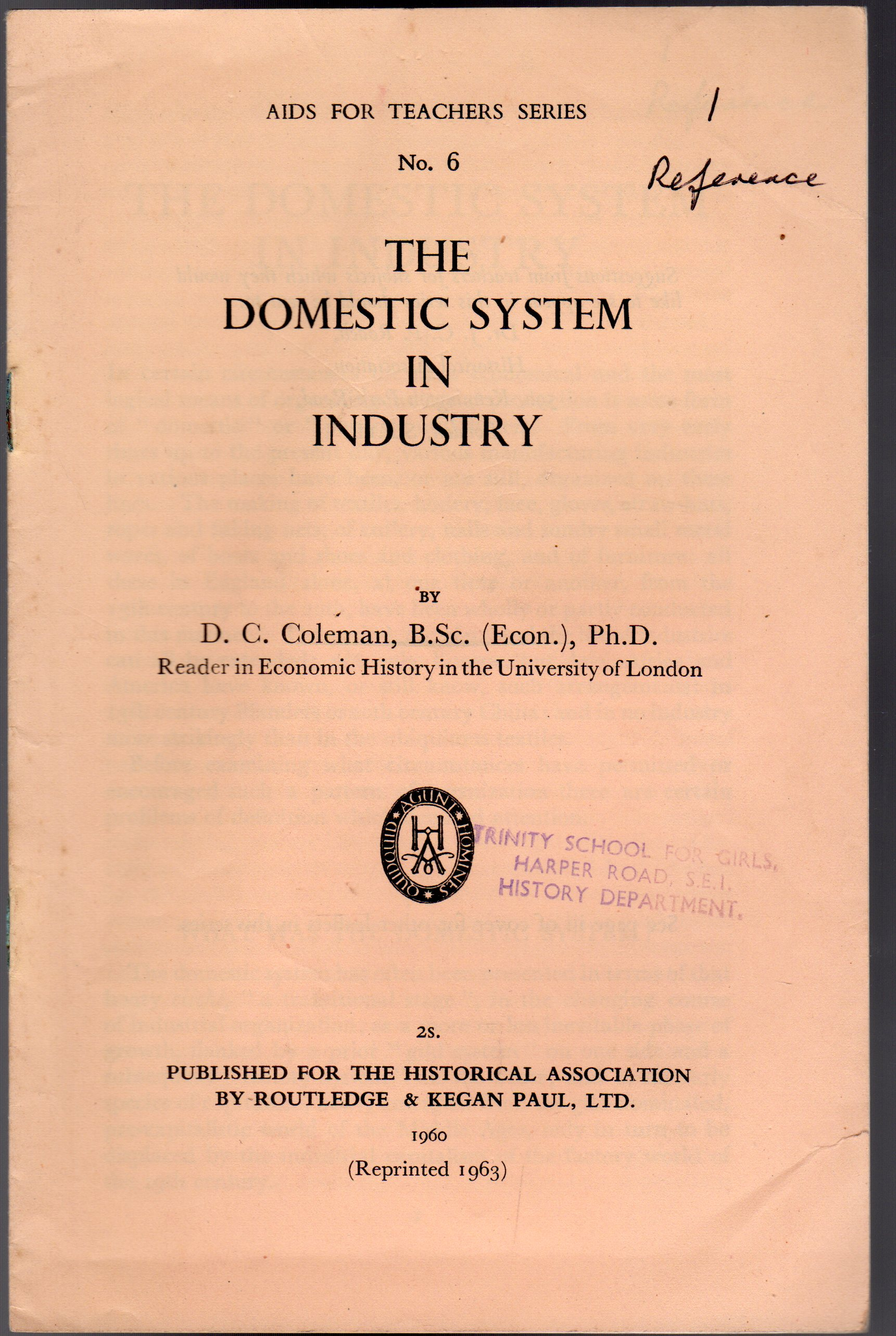 Image for The Domestic System in Industry : No. 6