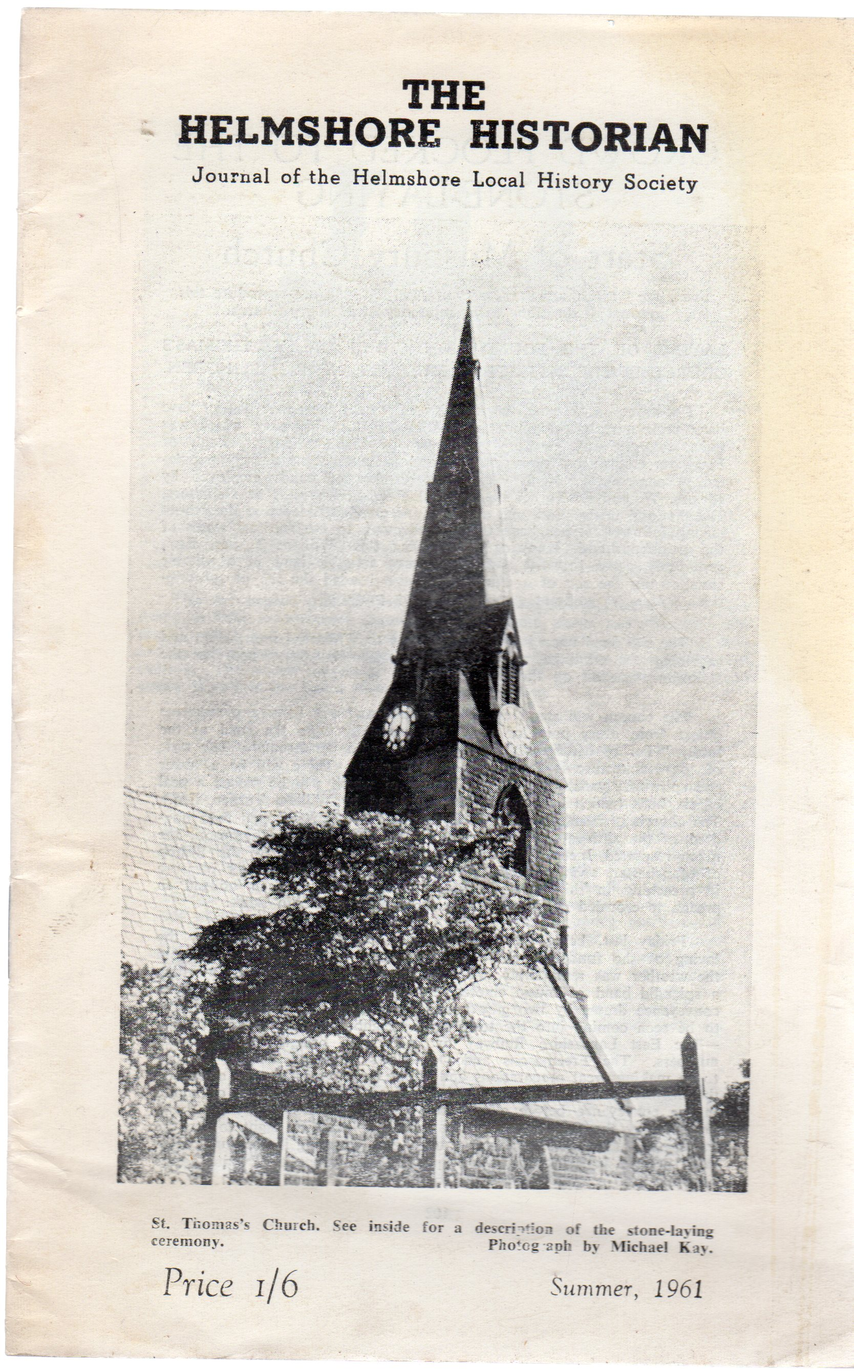 Image for The Helmshore Historian : Journal of the Helmshore Local History Society Summer 1961