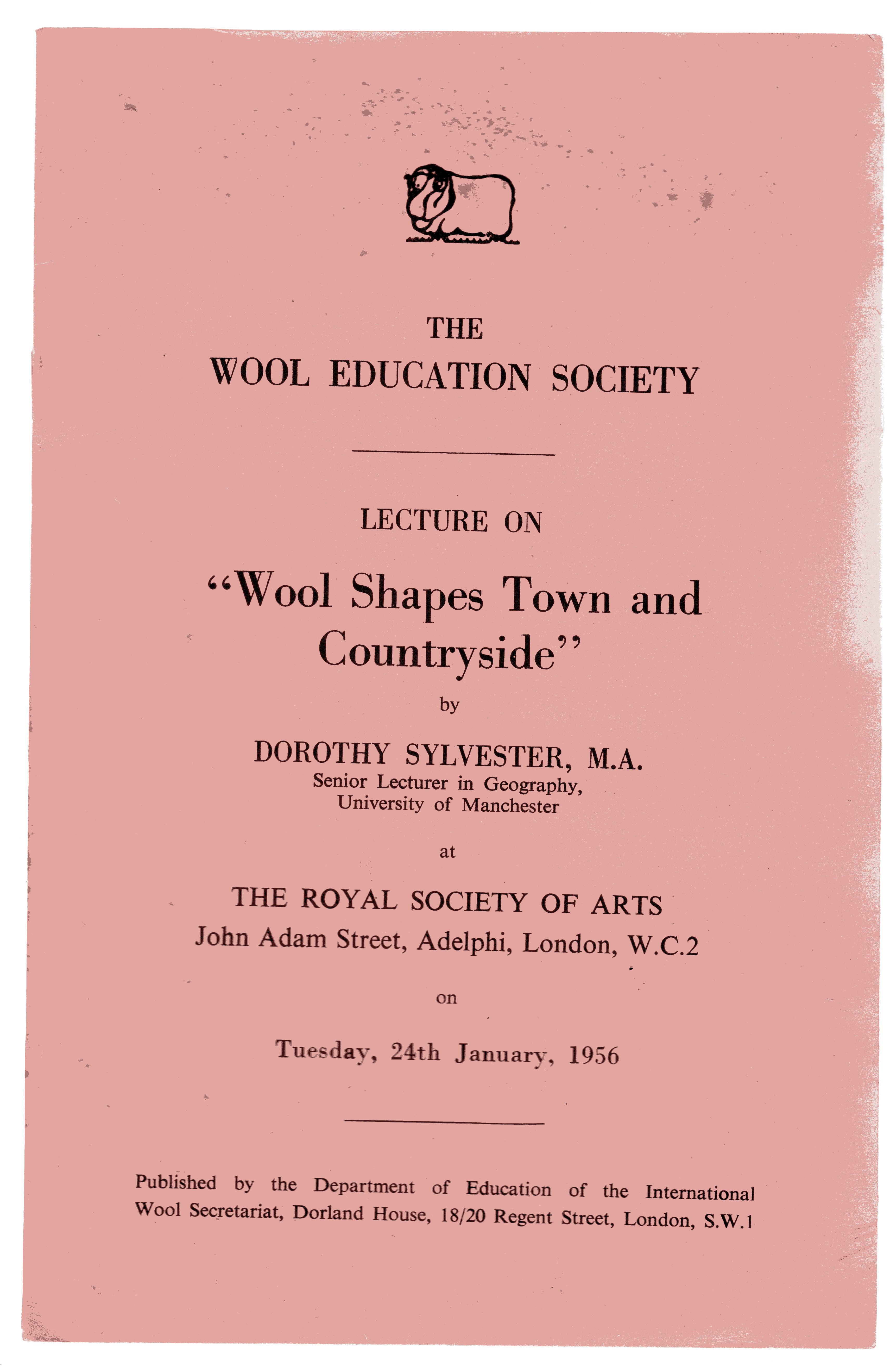 Image for The Wool Education Society Lecture on 'Wool Shapes Town and Countryside