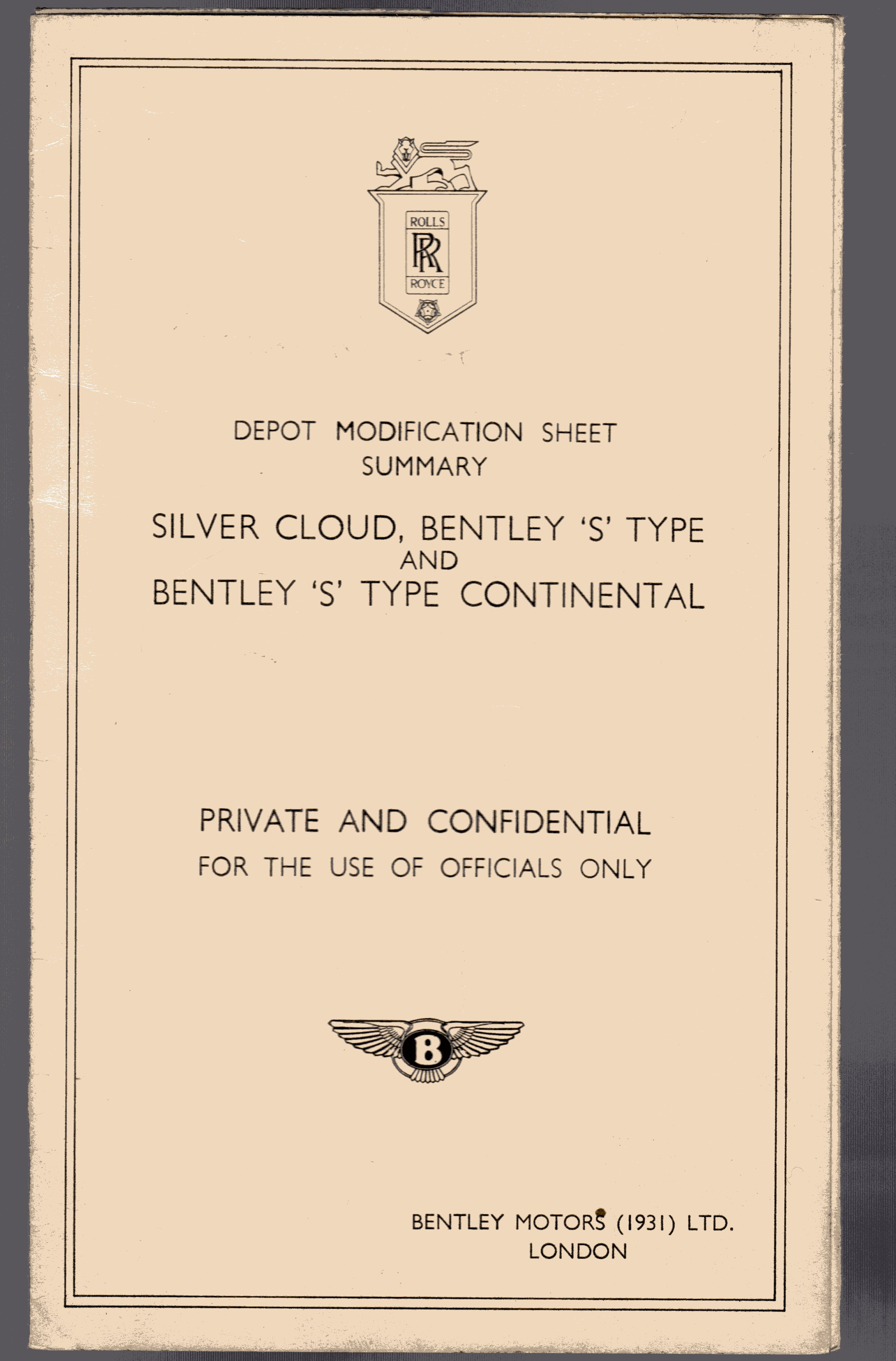 Image for Silver Cloud, Bentley 'S' Type and Bentley 'S' Type Continental - Depot Modification Sheet Summary
