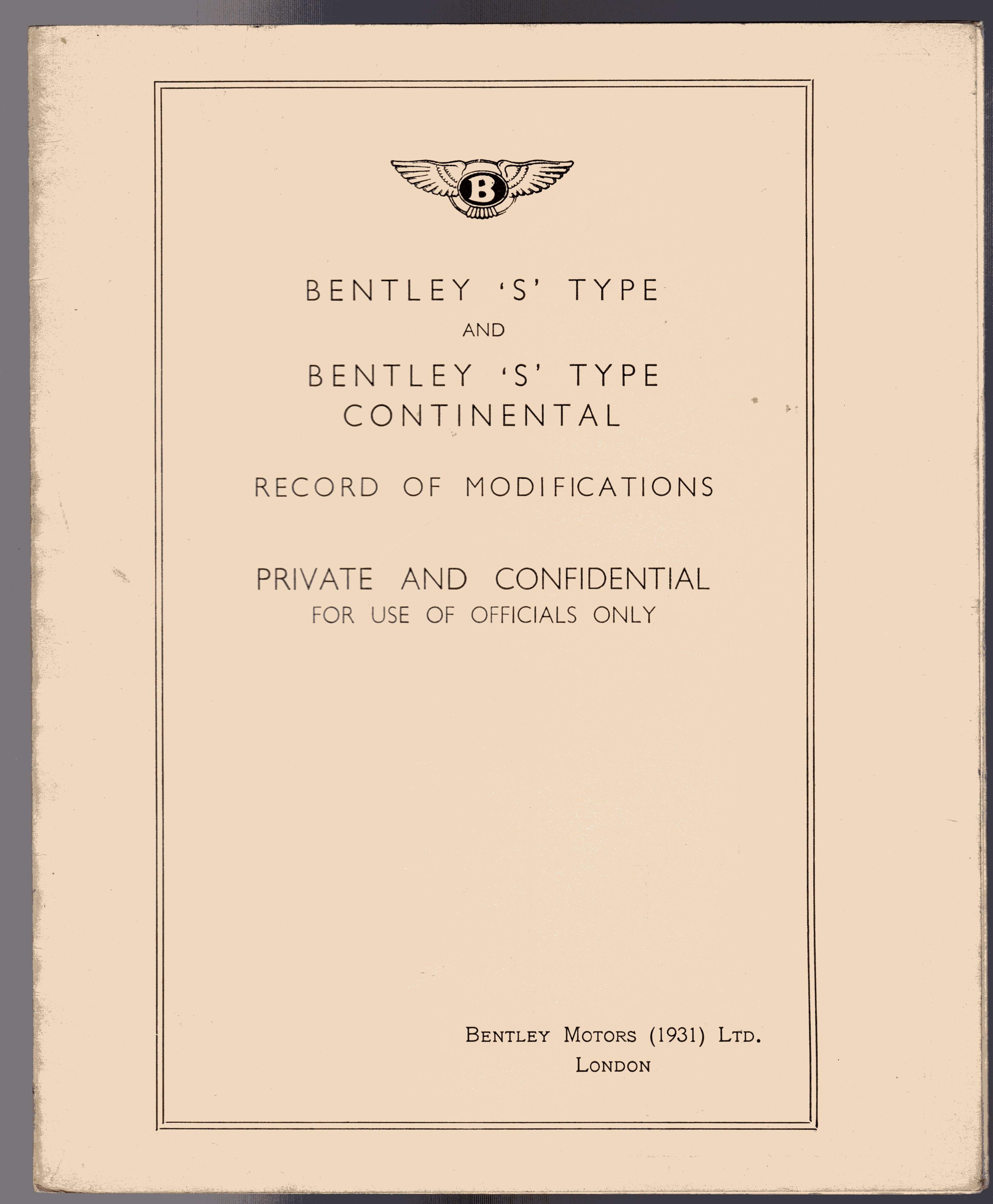 Image for Bentley 'S' Type and Bentley 'S' Type Continental  Record of Modifications