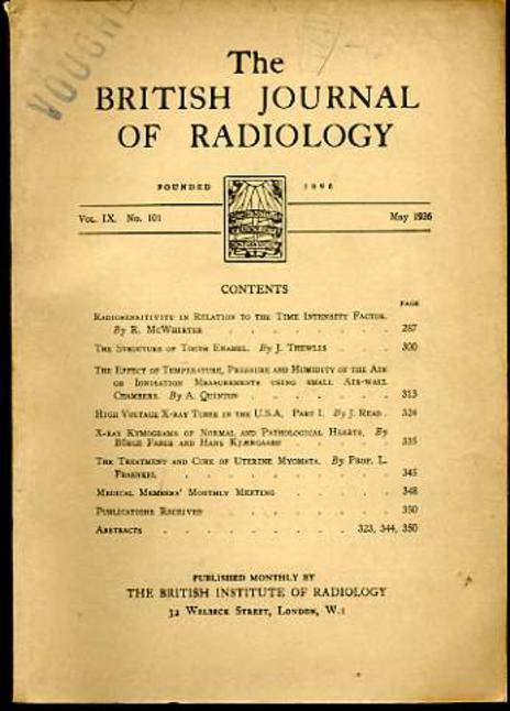 Image for The British Journal of Radiology Vol IX No 101 May 1936