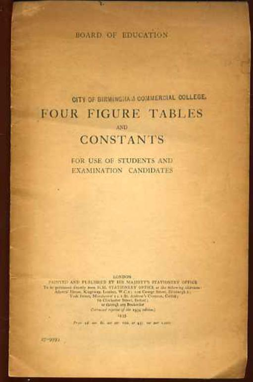 Image for Four Figure Tables and Constants for Use of Students and Examination Canditates