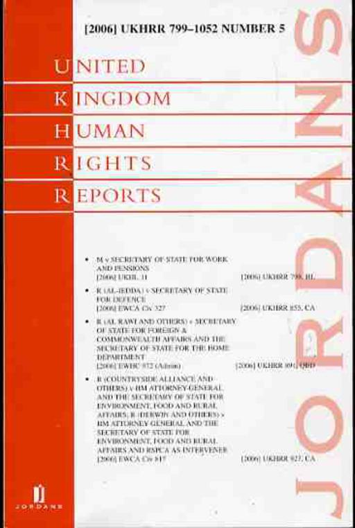 Image for United Kindom Human Rights Reports 799-1052 Number 5