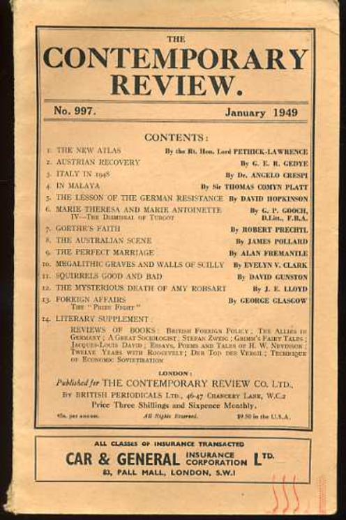 Image for The Contemporary Review No 997 January 1949
