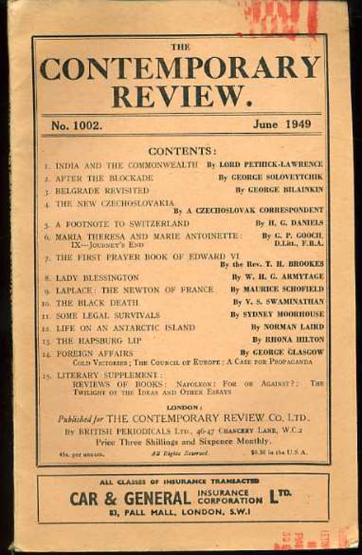 Image for The Contemporary Review No 1002 June 1949