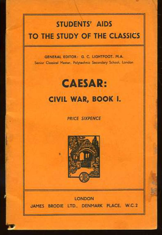 Image for Caesar: Civil War, Book I - Students' Aids to the Study of the Classics