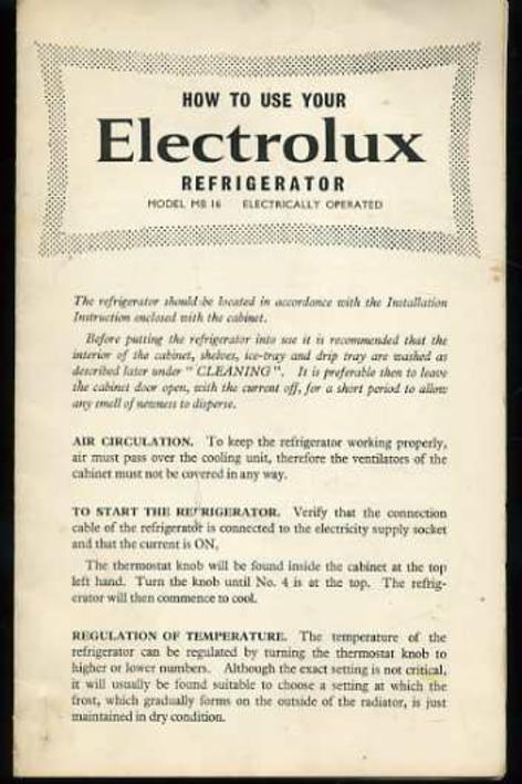Image for How to Use Your Electrolux Refrigerator  Model MB 16