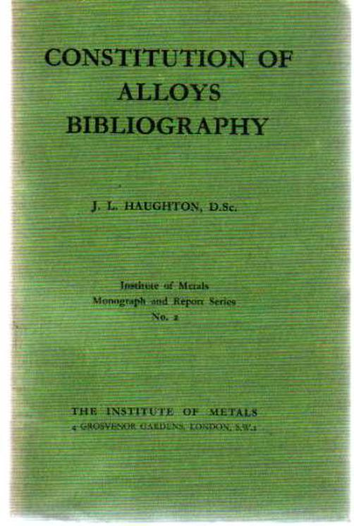 Image for Constitution Of Alloys Bibliography