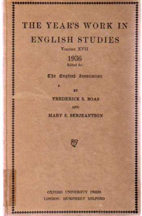 Image for The Year's Work in English Studies Volume  XVII 1936