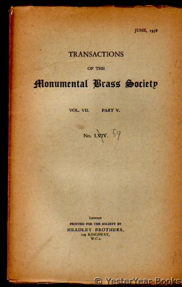 Image for Transactions of the Monumental Brass Society  Vol VII Part V No LVIV June 1938