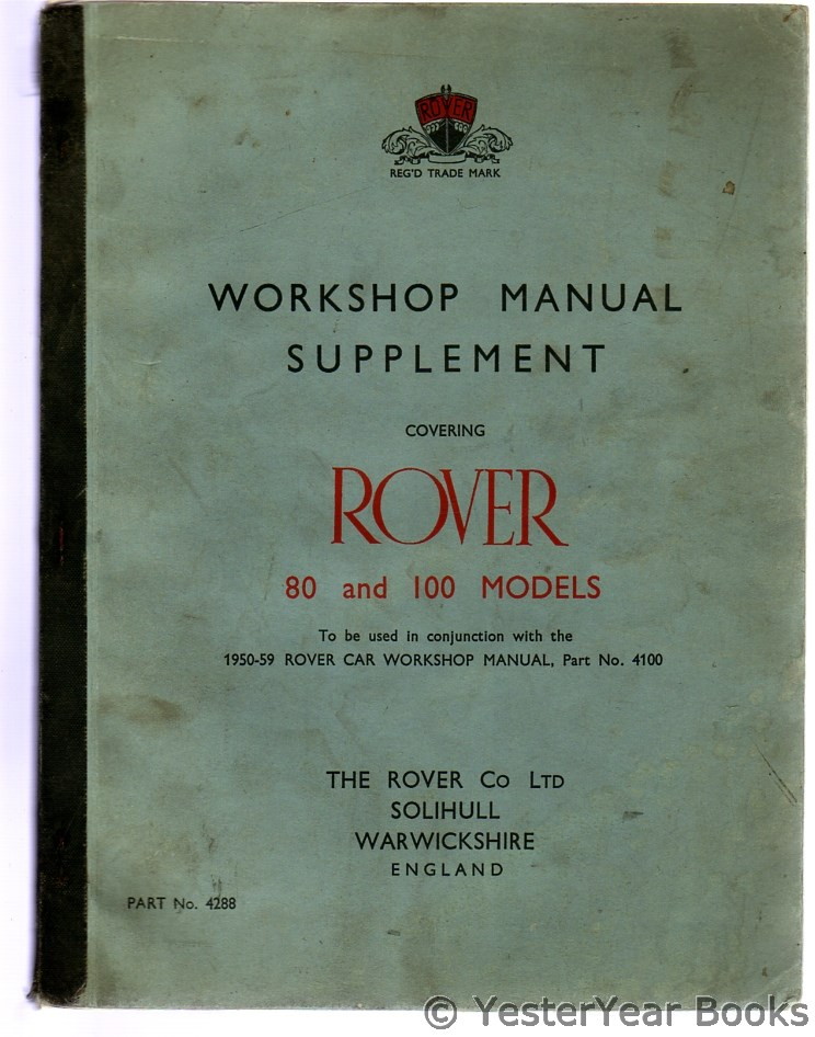 Image for Workshop Manual Supplement Covering Rover 80 and 100 Models