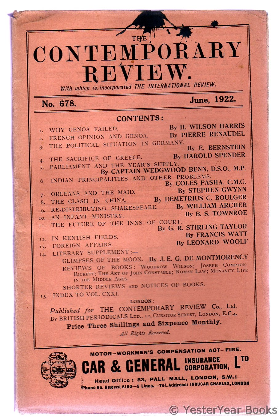 Image for The Contemporary Review June 1922