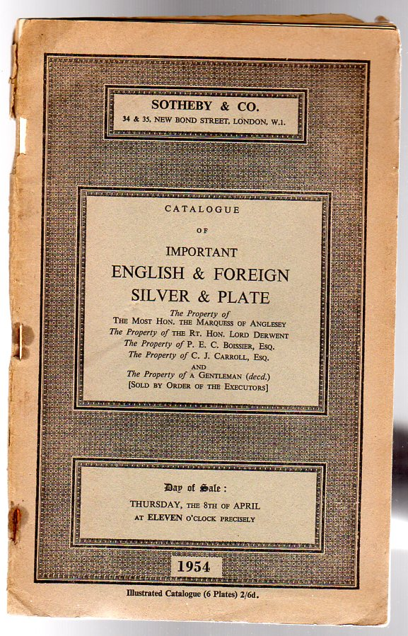 Image for Sotheby's Catalogue. Catalogue of Important English & Foreign Silver & Plate Thursday 8th April 1954