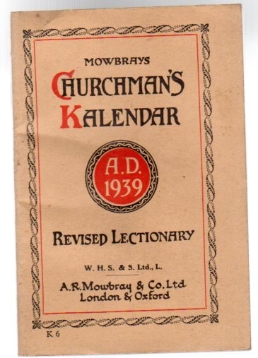 Image for Mowbrays' Churchman's Kalendar A.D. 1939