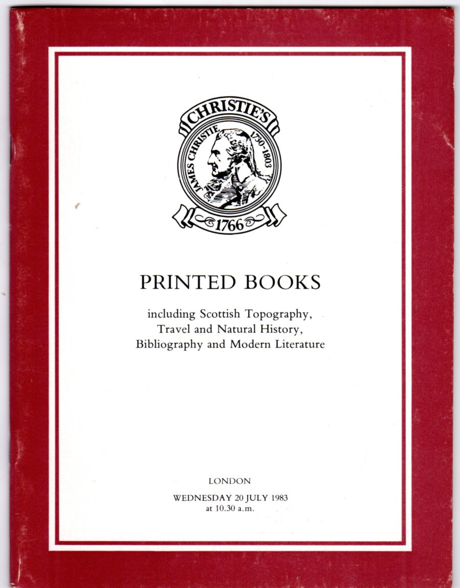 Image for Printed Books Including Scottish Topography, Travel and Natural History, Bibliography and Modern Literature