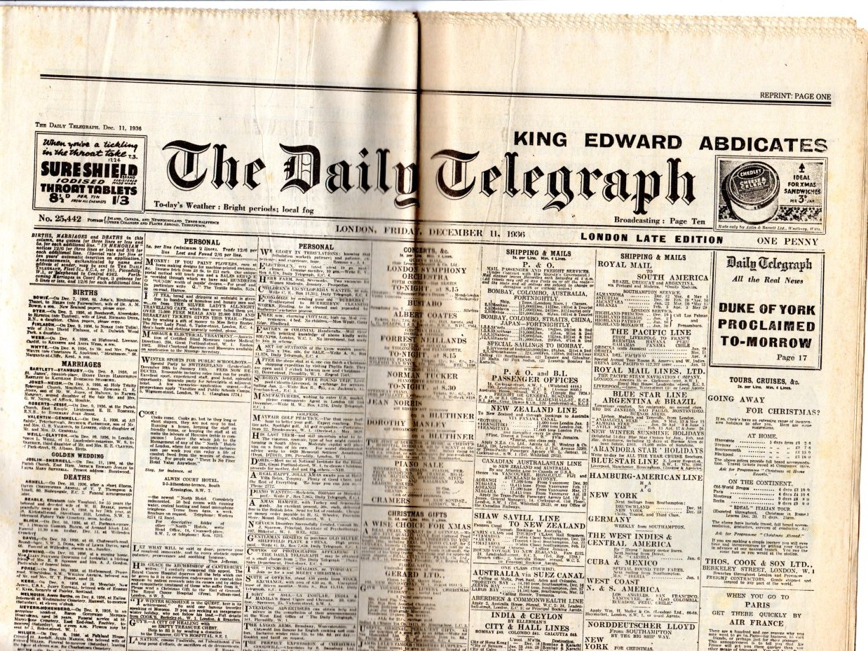 Image for Daily Telegraph Reprint - 11 December 1936 King Edward Abdicates