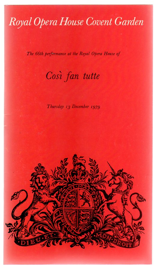 Image for Così Fan Tutte (THEATRE PROGRAMME)