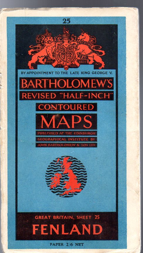 """Image for Bartholomew's Revised """"Half-Inch"""" Contoured Maps - Great Britain, Sheet 25 Fenland"""
