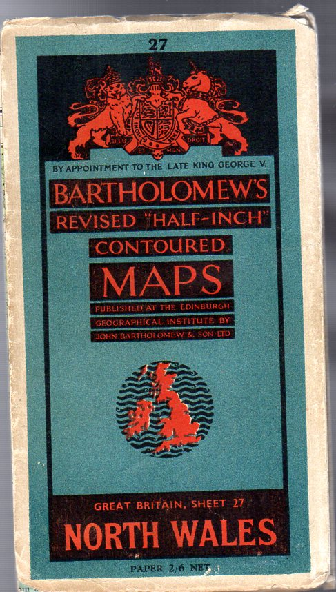 """Image for Bartholomew's Revised """"Half-Inch"""" Contoured Maps - Great Britain, Sheet 27 North Wales"""