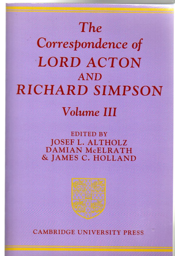 Image for The Correspondence of Lord Acton and Richard Simpson: Volume 3