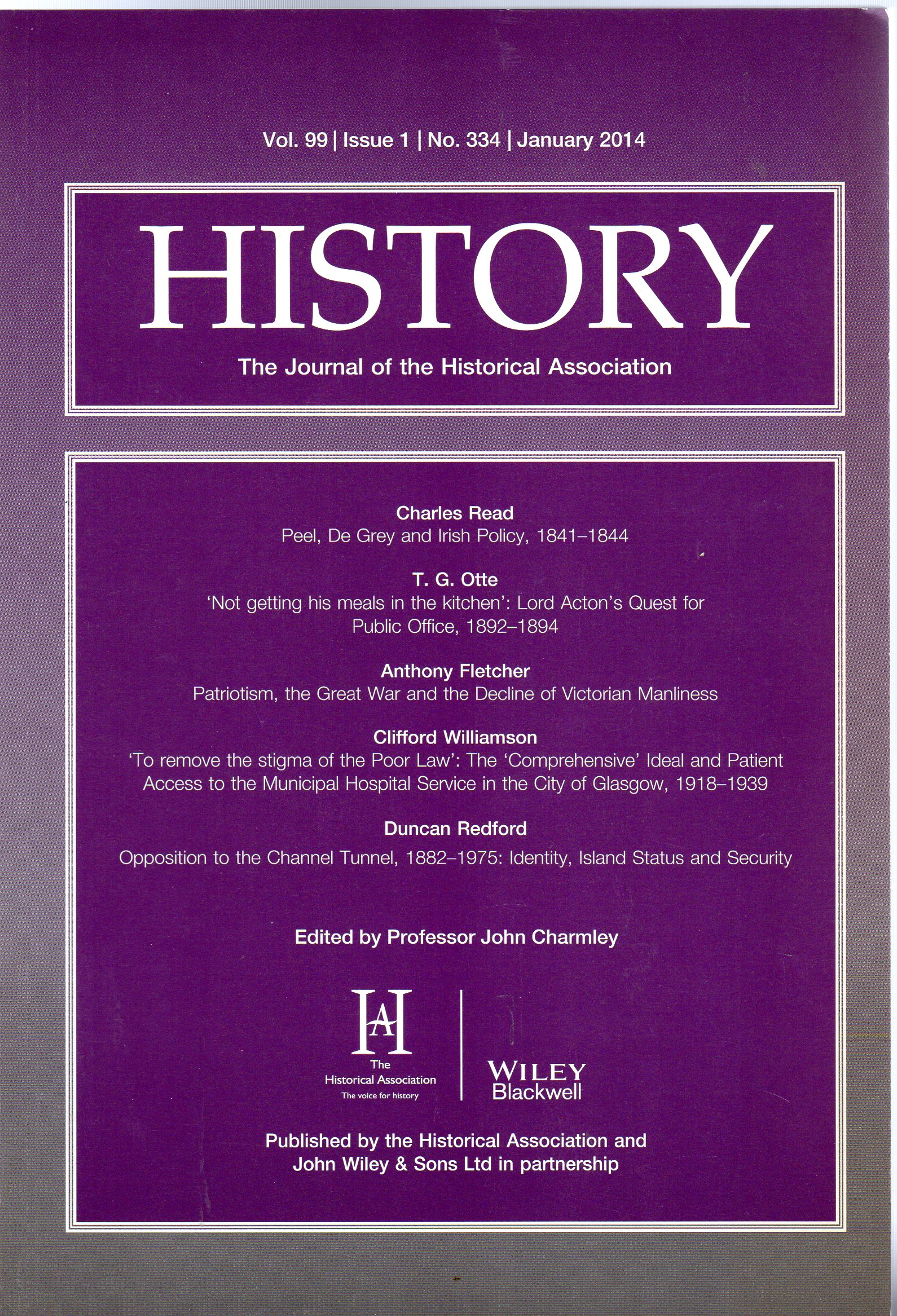 Image for History : The Journal of the Historical Association - Volume 99 Issue 1 No 334 January 2014