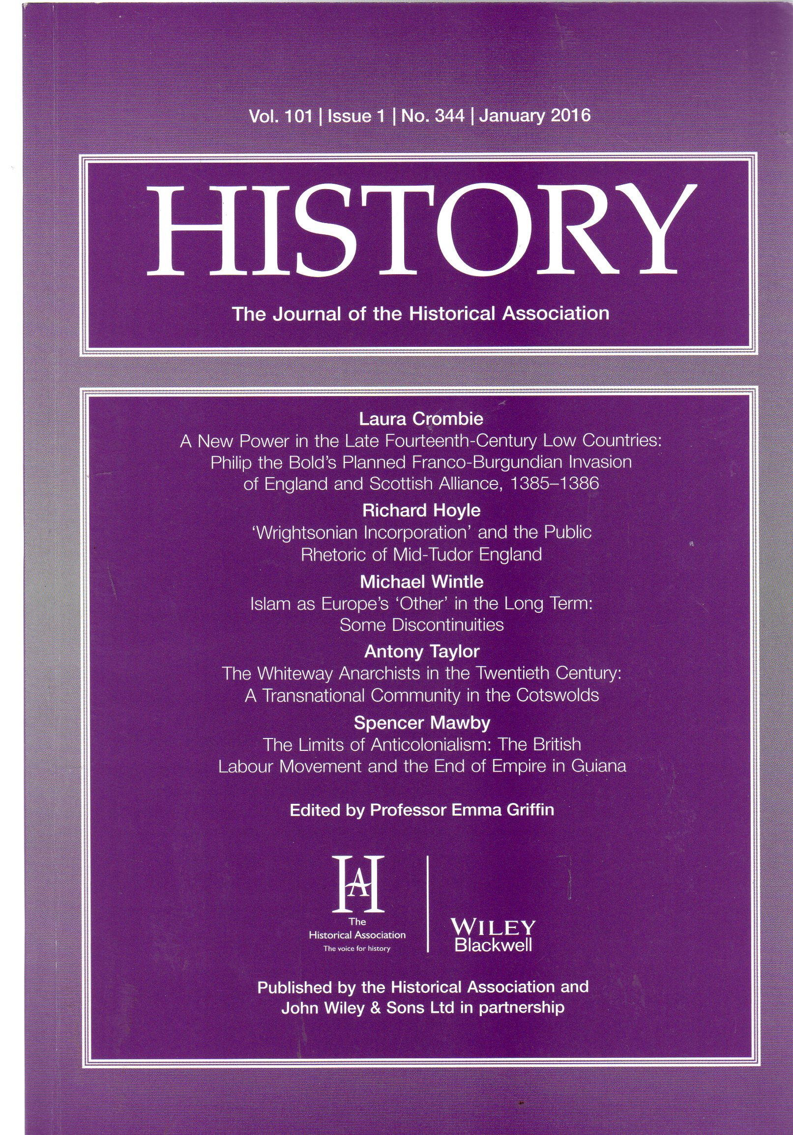 Image for History : The Journal of the Historical Association - Volume 101 Issue 1 No 344 January 2016