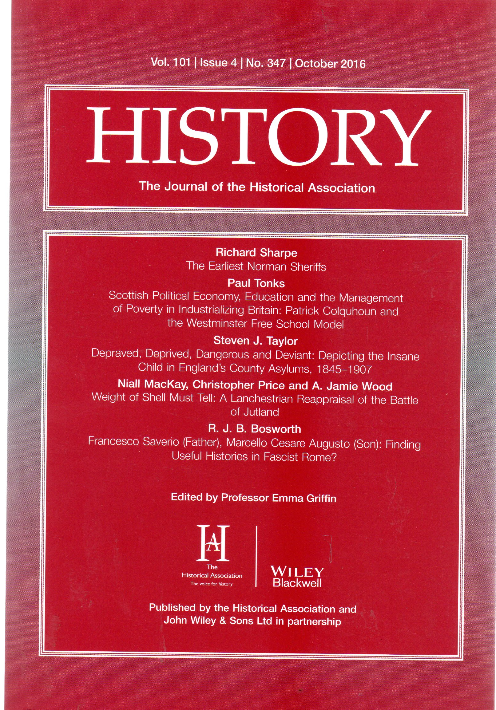 Image for History : The Journal of the Historical Association - Volume 101 Issue 4 No 347 October 2016