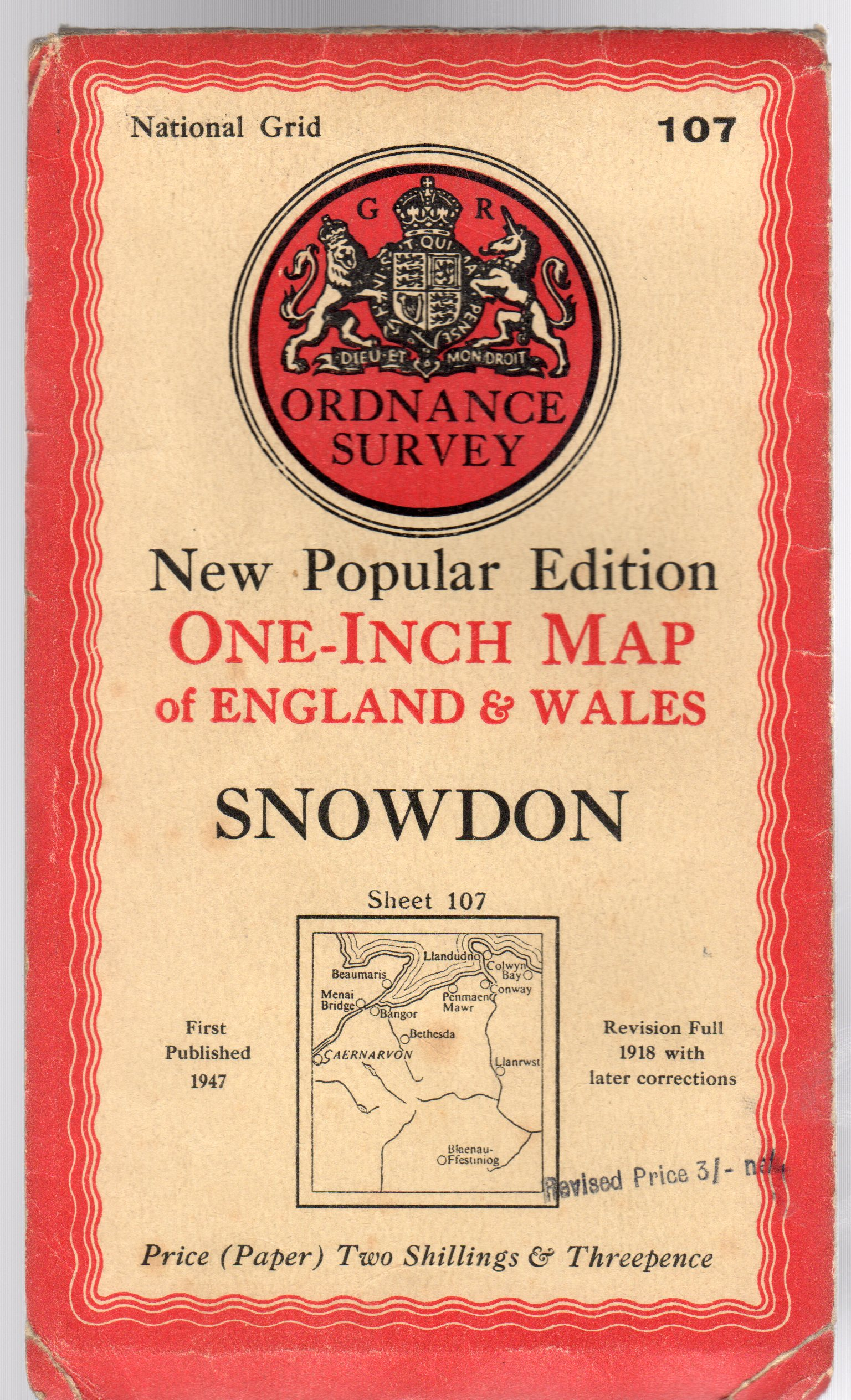 Image for Ordnance Survey  New Popular Edition One-Inch Map of England & Wales Sheet 107 Snowdon