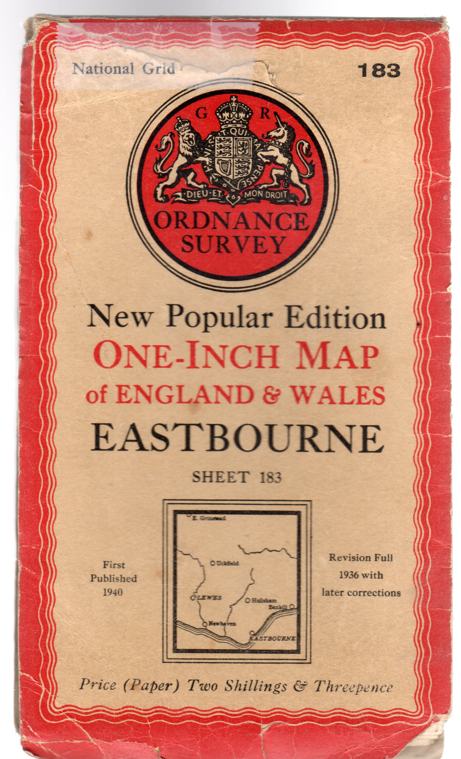 Image for Ordnance Survey  New Popular Edition One-Inch Map of England & Wales Sheet 183 Eastbourne